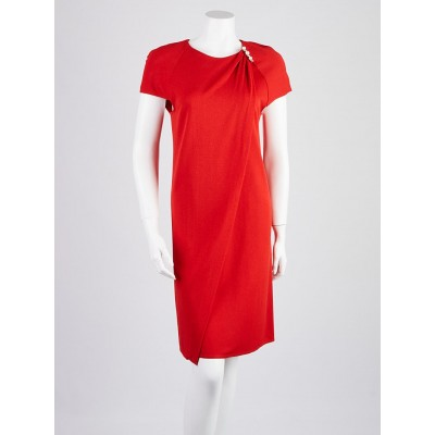 Louis Vuitton Red Viscose Overlap Sheath Dress Size 6/38