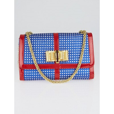 Christian Louboutin Red/White/Blue Metallic Leather and Fabric Sweet Charity Shoulder Bag