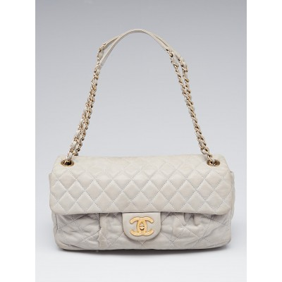 Chanel Grey Quilted Iridescent Calfskin Leather Chic Quilt Flap Bag