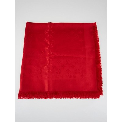 Louis Vuitton Red Monogram Denim Silk/Wool Shawl Scarf