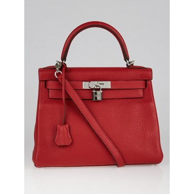 Hermes 28cm Rouge Casaque Clemence Leather Palladium Plated Kelly Retourne Bag