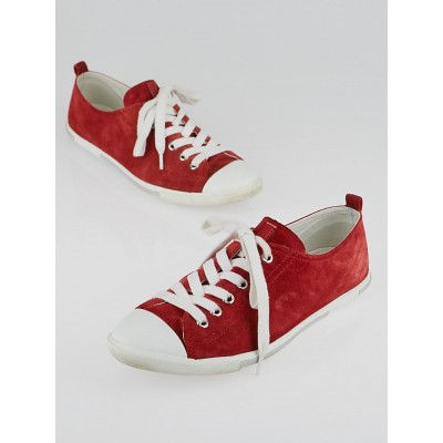 Prada Red Suede and Rubber Cap Toe Sneakers Size 9.5/40