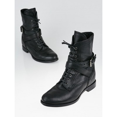 Prada Black Leather Lace-Up Boots Size 6.5/37