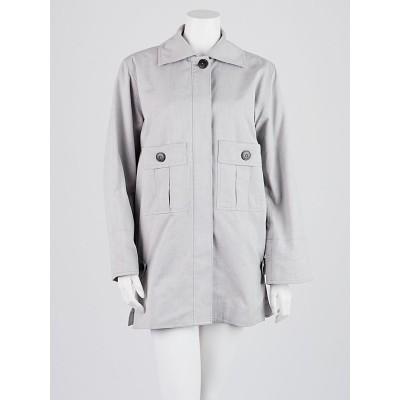 Balenciaga Grey Cotton Oversized Button Up Trench Coat Size 4/38