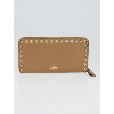 Valentino Tan Leather Rockstud Continental Zip Wallet