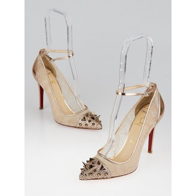 Christian Louboutin Nude Lace/Crystal Picks and Co. Pot Pourri 100 Ankle Strap Pumps Size 7.5/38
