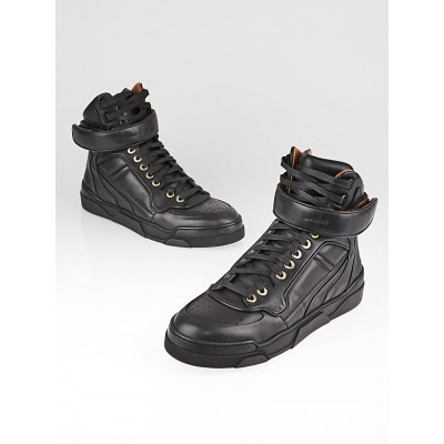 Givenchy Black Leather High Top Sneakers Size 6.5/37