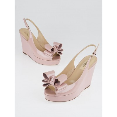 Valentino Pink Patent Leather Couture Bow Slingback Wedges Size 7.5/38