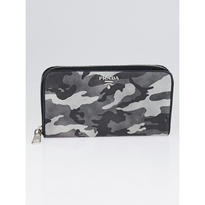 Prada Marmo Camoflauge Print Saffiano Lux Leather Zip Wallet 1M0506