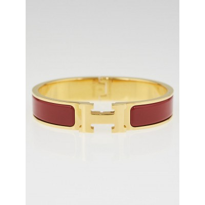 Hermes Rouge Garance Enamel Gold Plated Clic H PM Narrow Bracelet