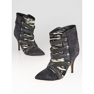 Isabel Marant Tacy Suede Zebra Printed Pony Hair Leather Boots Size 6.5/37