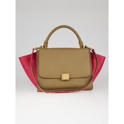 Celine Taupe and Fuchsia Smooth Leather Small Trapeze Bag