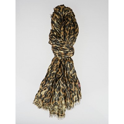 Louis Vuitton Brown Cashmere/Silk Stephen Sprouse Leopard Disco Scarf