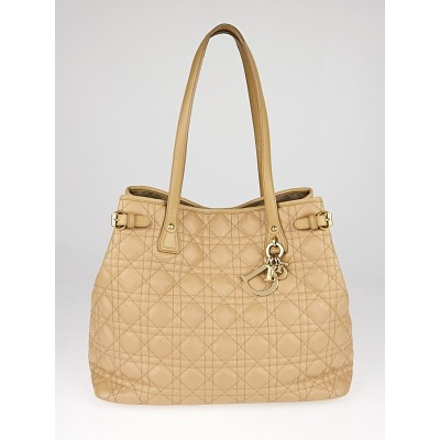 Christian Dior Beige Cannage Quilted Coated Canvas Medium Panarea Tote Bag