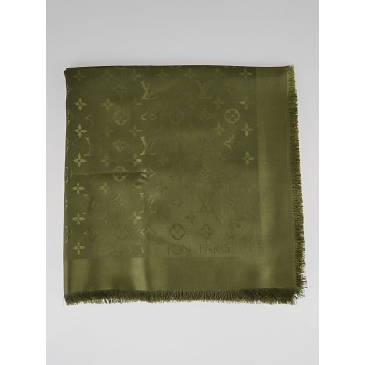 Louis Vuitton Green Monogram Silk/Wool Shawl Scarf