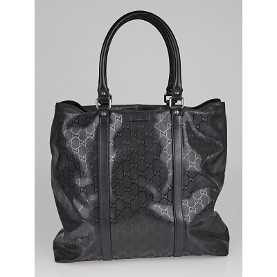 Gucci Black Diamante Coated Canvas Tote Bag