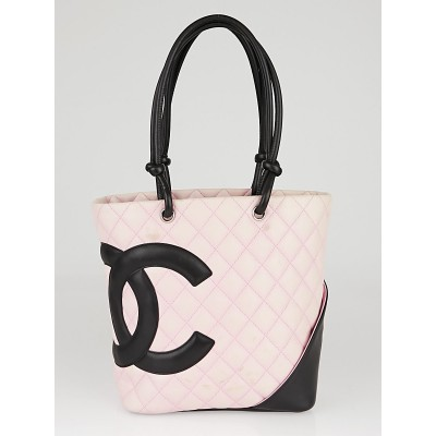 Chanel Pink/Black Quilted Cambon Ligne Medium Tote Bag