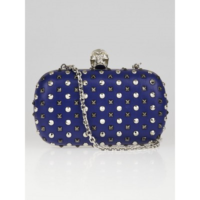 Alexander McQueen Marine Blue Leather Studded Skull Box Clutch Bag