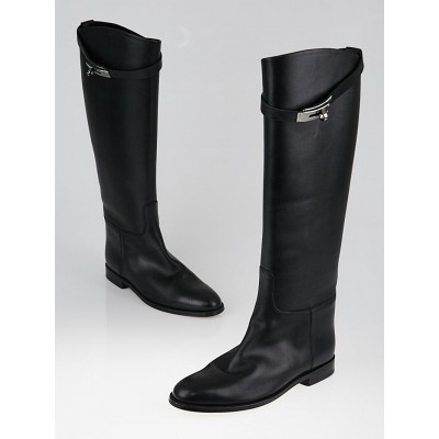 Hermes Black Box Leather Equestrian Boots Size 8/38.5