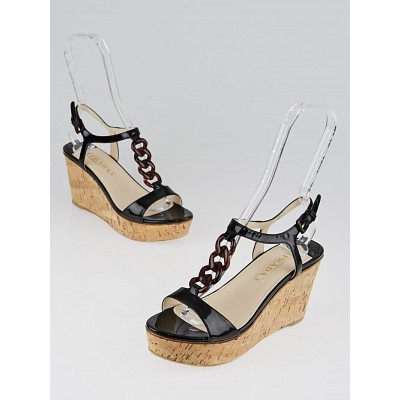 Prada Black Patent Leather and Cork Wedge Sandals Size 8/38.5