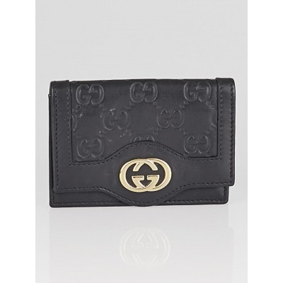 Gucci Black Guccissima Leather Sukey Card Holder Wallet