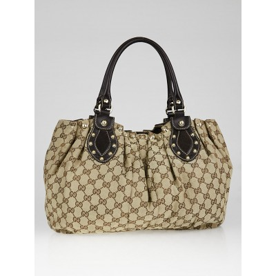 Gucci Beige/Ebony GG Canvas Studded Pelham Bag