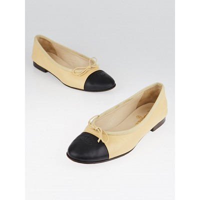 Chanel Beige/Black Leather CC Cap Toe Ballet Flats Size 8.5/39