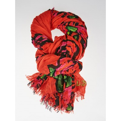 Louis Vuitton Limited Edition Orange Cashmere/Silk Stephen Sprouse Roses Stole