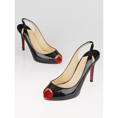Christian Louboutin Black/Rouge Lipstick Patent Leather Lady Sling 100 Pumps Size 9/39.5