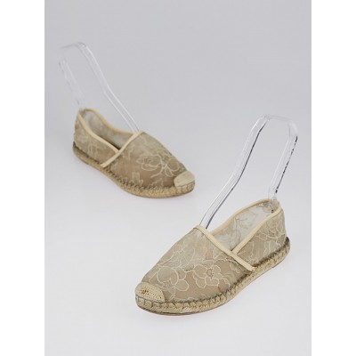 Valentino Beige Lace Espadrille Flats Size 8.5/39