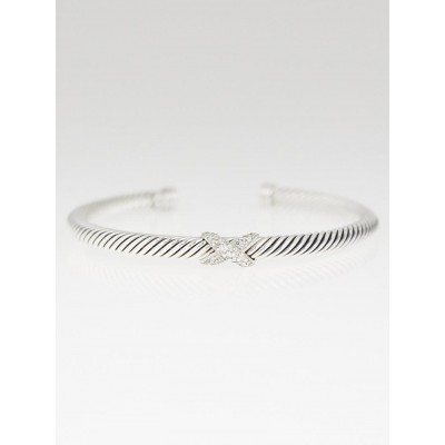 David Yurman 4mm Sterling Silver an Diamond Cable Crossover X Bracelet