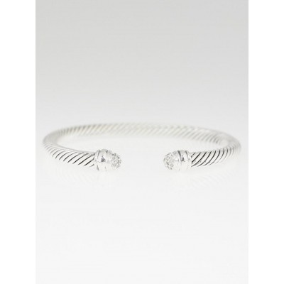 David Yurman 5mm Sterling Silver and Pave Diamond Cable Classics Bracelet