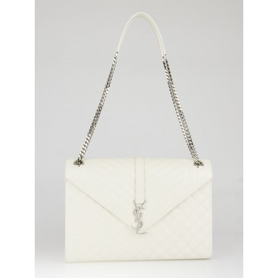 Yves Saint Laurent Matelasse White Quilted 3 Mix Matelasse Leather Large Monogram Flap Bag