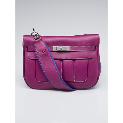 Hermes 28cm Anemone Swift Leather Palladium Plated Berline Bag