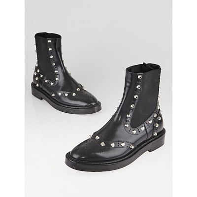 Balenciaga Black Leather Studded Chelsea Ankle Boots Size 5.5/36