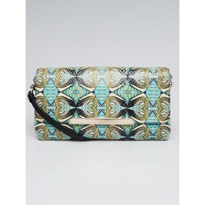 Christian Louboutin Green/Blue/Multicolor Inferno Print Python & Leather Rougissime Clutch Bag