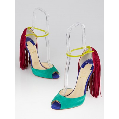Christian Louboutin Multicolor Suede Otrot Fringe 120 Sandals Size 9.5/40