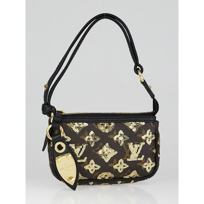 Louis Vuitton Limited Edition Gold Monogram Eclipse Mini Pochette Bag