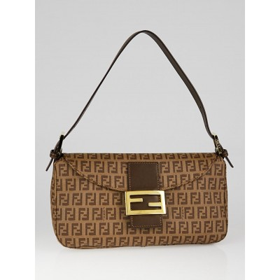 Fendi Brown Zucchino Coated Canvas Forever Baguette Bag 8BR003