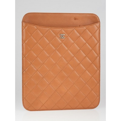 Chanel Beige Quilted Caviar Leather iPad Case