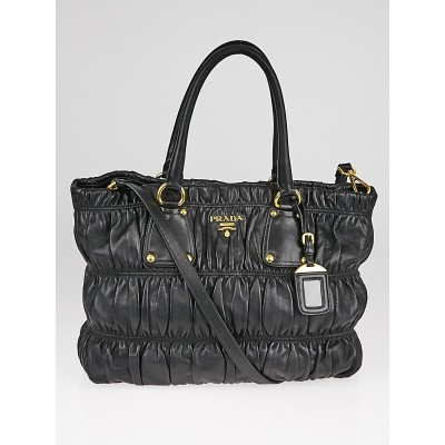 Prada Black Nappa Gaufre Leather Tote Bag BR4247