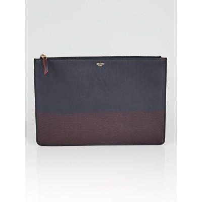 Celine Navy/Red Leather Bi-Color Clutch Pouch Bag