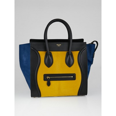 Celine Tricolor Pony Hair and Leather Mini Luggage Tote Bag