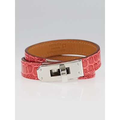 Hermes Bougainvillea Shiny Lisse Alligator Palladium Plated Kelly Double Tour Bracelet Size S