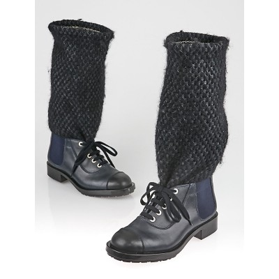 Chanel Black Leather Knit Boots Size 9/39.5
