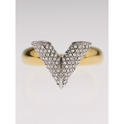 Louis Vuitton Goldtone and Crystal V Essential Ring Size 7.5