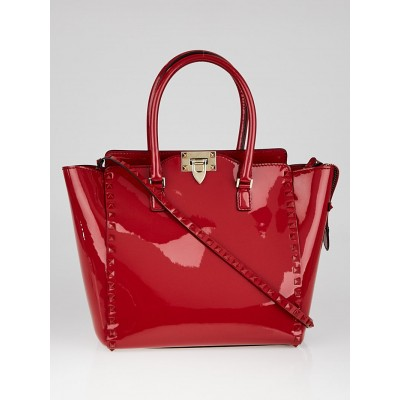Valentino Red Patent Leather Rockstud Double Handle Tote Bag