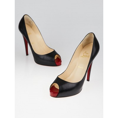 Christian Louboutin Black Leather Very Prive 120 Peep Toe Pumps Size 10/40.5