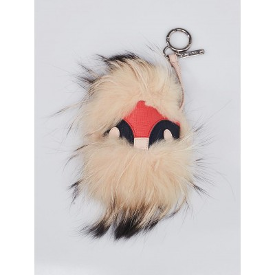 Fendi Pink/Beige Leather/Fox Fur 'Wild Jess' Monster Bag Bugs Key Chain and Bag Charm