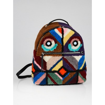 Fendi Multicolor Shearling/Leather Monster Buggies Backpack Bag